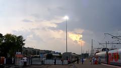 DSCF2265 (Mike Pechyonkin) Tags: 2016 yaroslavl  sky  cloud  car  lamp  platform  railway   station  girl woman  man   sunset