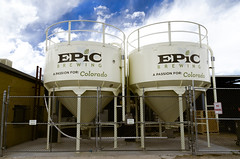 Epic Brewing (photographyguy) Tags: epicbrewing denver colorado brewery beer tanks rino rinodistrict fence brewing sky
