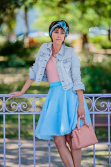 IMG_1487 (Elowdi) Tags: jupe skirt bleu bleue blue femme woman organza habit vtement clothes outfit mode fsahion couture sewing cra crea crations creation fantaisy fancy t summer bag sac jardin garden