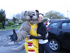 Me (left) with Speed Racer (Moondog Mascot) Tags: 100k moondog cavaliers beechbrook 04222012 fleetfeetsports5k