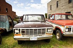 Ford Trucks (Curtis Gregory Perry) Tags: auto old two ford truck automobile montana mobil front dot end trucks motor 1978 grille 1973 automvil xe automobil     samochd  kotse  otomobil   hi   bifrei  automobili   gluaisten