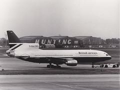 British Airways Tristar 'G-BFCB' London Heathrow (Longreach - Jonathan McDonnell) Tags: england london hunting scan lockheed britishairways ilford terminal4 ilfordfp4 londonheathrow blachwhite egll lockheedtristar lockheedl1011tristar gbfcb