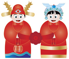 Chinese Wedding Couple in Traditional Costumes (JPLDesignsPDX) Tags: china costumes wedding red party woman man flower phoenix hat illustration festive asian happy gold couple day dragon drawing traditional text chinese ceremony culture happiness husband jewelry double celebration wife ribbon gown ornate occasion vector adornment auspicious