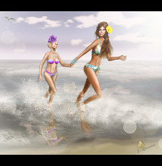 Bloomy & Lila at The Beach (Lila has been out sick) Tags: friends summer beach secondlife ikon glitterati dva slfashion baiastice glamaffair chantakre lilaquander dementeddiva bloommiles