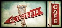 El Tecolote Cafe (Shakes The Clown) Tags: california old red sky food signs texture vintage typography lights restaurant cafe diptych flickr neon cloudy tacos illumination mexicanfood retro signage owl font arrow camarillo signlanguage texturelayer canon5dmarkii