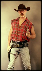 Buckles (Cowboy Tommy) Tags: male model cowboy body cigarette packing smoke blueeyes handsome moustache jeans western stache tight levis pistols rugged holster hung bulge silverdaddy