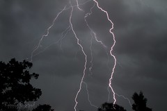 Strike! (Rebecca E. Steed Photography) Tags: sky clouds electricity lightning nitetime thunder