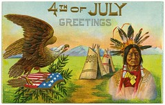 4th of July Greetings (Alan Mays) Tags: old blue red white mountains men green yellow vintage paper stars cards typography gold holidays antique stripes feathers patriotic ephemera postcards type fourthofjuly arrows indians greetings july4th 4thofjuly july4 independenceday printed eagles nativeamericans shields typefaces teepees greetingcards tipis headdresses tepees