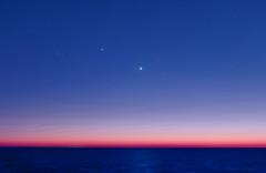 Venus, Jupiter & Aldebaran (lrargerich) Tags: morning sky argentina sunrise star twilight glow venus nightscape horizon cluster m45 planets astronomy planetary jupiter pleiades aldebaran skywatch conjunction hyades twilightscape