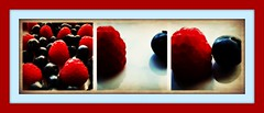 British Patriot berries (JimmyMac210 - just returned home from hospital) Tags: uk blue red white macro reflection london closeup fruit healthy focus berries blueberry shoreditch hoxton raspberry hackney superfood photomanpulation apicturestory blinkagain