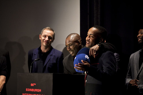 Shabba, Dylan Duffus and the rest of the One Mile Away cast receive the Michael Powell Award at the 2012 EIFF Awards ceremony at the Filmhouse