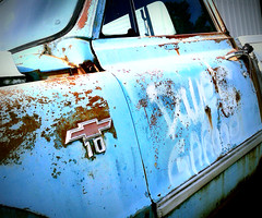 Dave's Garage (Dave* Seven One) Tags: rot classic chevrolet abandoned vintage junk rust peeling parts pickup chevy chrome forgotten flaking dents pitted c10 flickrandroidapp:filter=none