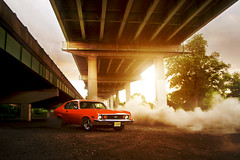 Kyle Hannigan's 74' Nova (Ronaldo.S) Tags: orange nova 1971 nikon muscle chevy burnout f28 sunflare 2035mm d700