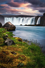 godafoss (Dennis_F) Tags: summer sky sun nature water colors beautiful clouds river landscape island evening waterfall iceland rocks stream wasser europa europe wasserfall stones sommer natur north norden himmel wolken midnight polar fluss landschaft isle farben vulkan godafoss abends vulcanic waterfallofthegods islandic