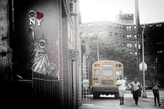 i love ny - the welling court edition (bytegirl24) Tags: street people streetart sidewalk eyeball statueofliberty schoolbus iloveny selectivecolorization selectcolor wellingcourt wellingcourtmuralproject