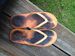 Oily flip-flops (eurekadest) Tags: male feet toes dirty barefoot oil soles