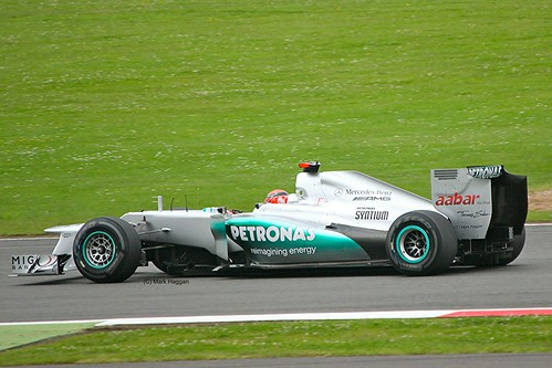 Mercedes F1 driver Michael Schumacher on Saturday at the 2012 British Grand Prix at Silverstone