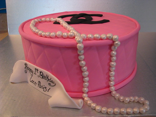 Pink Chanel and Pearls birthday cake