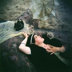 The Ship (LiskenMarie) Tags: portrait woman net beauty mediumformat square sand ship starfish parasol siren holga120cfn