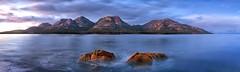 Life's Hazards (Tim Poulton) Tags: ocean mountains water clouds sunrise nikon australia panoramic tasmania thehazards colesbay novoflex