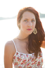 Over the Water (Colbis) Tags: street summer plants streets color sexy brick water girl beautiful smile grass fashion dark hair cool nice eyes alley perfect colorful long bright vibrant gorgeous jeans stunning shorts mm straight 50 perfection