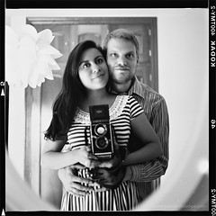 Photography takes an instant out of time, altering life by holding it still. (www.juliadavilalampe.com) Tags: blackandwhite selfportrait love mamiya film me square mirror couple kodak pareja scanner amor room husband getty liebe gettyimages mamiyac330 esposos chaulafanita chanchopanza