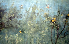 Painted Garden, Villa of Livia, detail with woods