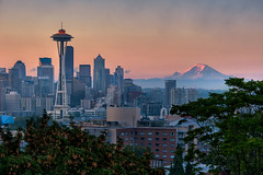 Seattle Sunrise (todd landry photography) Tags: seattle green architecture sunrise photography washington nikon downtown cityscape space needle todd hdr landry d700