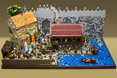 The Market Gate - Overview (Bricktease) Tags: lego moc market gate medieval tbb afol bricktease bricknetwork legos custom model scene king queen knights game thrones foitsop