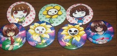 all undetale buttons (Amane-chan) Tags: akon anime convention akon27 buttons lanyard undertale chara frisk flowey flower