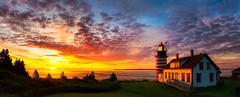 West Quoddy Head Light (Robert Allan Clifford) Tags: lubec maine newengland robertallanclifford robertallancliffordcom westquoddyheadlight coastline lighthouse ocean sky sunrise water