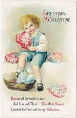 """ELLEN CLAPSADDLE CUTE VALENTINE KID WITH FLOWERS Thou are all the world to me - LOVE IS IN THE AIR International Art Card Series Card 304 (UpNorth Memories - Donald (Don) Harrison) Tags: vintage antique postcard rppc """"don harrison"""" """"upnorth memories"""" upnorth memories upnorthmemories michigan history heritage travel tourism """"michigan roadside restaurants cafes motels hotels """"tourist stops"""" """"travel trailer parks"""" campgrounds cottages cabins """"roadside entertainment"""" """"natural wonders"""" attractions usa puremichigan"""