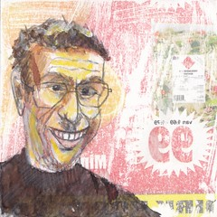 # 242 (29-08-2016) (h e r m a n) Tags: herman illustratie tekening bock oosterhout zwembad 10x10cm 3651tekenevent tegeltje drawing illustration karton carton cardboard male man portrait portret