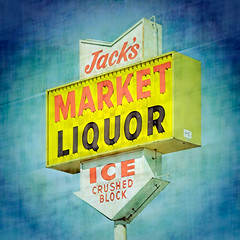 jack's liquor / prcssd. barstow, ca. 2013. (eyetwist) Tags: eyetwistkevinballuff eyetwist prcssd sign barstow mojavedesert jacksliquor market liquor ice crushed block booze processed photoshop lensblur vignette texture secretrecipe square supersaturated signaltonoise postprocessed graphic processing postprocessing plugin typographic typography type signs signage text letters arrow americana roadside i40 mojave desert highdesert california clouds bluesky yellow red american west jack yermo