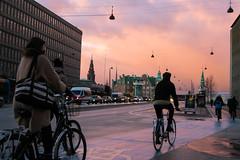 The essence of Copenhagen (m.debe) Tags: copenhagen sunset light street people bike kobenhavn travel