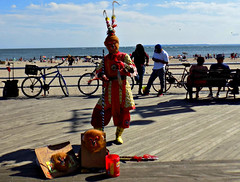 """""""Year of the Monkey"""" (Robert S. Photography) Tags: boardwalk chinese newyear monkey sign instruments costume musician people beach benches bicycles sky cloud scenery coneyisland brooklyn nyc nikon color coolpix l340 iso80 september 2016"""