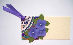 GT1 - Handmade gift tag (tengds) Tags: gifttag yellow deepblue flowers purple giftpaper ribbon papercraft handmade tengds