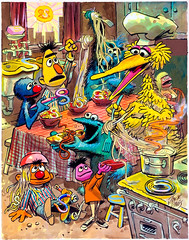 """Puzzle of the Hidden S's"", Sherlock Hemlock's Hidden Answer Jigsaw Puzzle by Jack Davis, 1971 (Tom Simpson) Tags: sherlockhemlock bigbird jackdavis sesamestreet illustration vintage television vintagetelevision art painting 1971 1970s grover cookiemonster bert ernie"