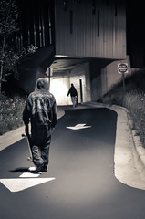(diana.randles) Tags: skateboard skater night duotone nikond5100 faceless facelessportrait people youth hooligans donotenter outdoors skateboarding concrete friends mysterious dark tunnel