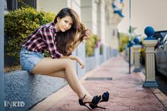 DSC00353 (inkid) Tags: street girl fashion outdoor portrait white long hair bokeh dof jeans short pants sony 50mm f14 carl zeiss planar t za lens a900 theoneandonly rubynnez rubyn teen