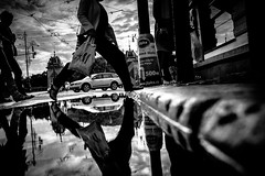 Under the bridge (tomabenz) Tags: noiretblanc streetview prague street photography bw sony a7rm2 reflection praha rainy day human geometry black white europe praga monochrome blackandwhite humaningeometry rainyday sonya7rm2 streetphotography