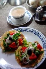 Borracho Breakfast Tacos (goblinbox_(queen_of_ad_hoc_bento)) Tags: tacos borrachobeans vegetarian corelle oldtown blueonion