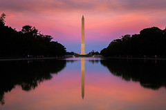Washington Monument (robertdownie) Tags: trees red sunset reflection blue pool monument usa pink washington united states america obelisk national mall district columbia dc