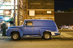 1956 Ford F100 Panel Van (Curtis Gregory Perry) Tags: old blue ford bar night oregon truck portland washington long exposure panel f100 scooter tavern delivery 1956 van 14th 56      mcquades