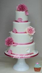 Dusky Pink Roses Wedding Cake (www.jellycake.co.uk) Tags: pink wedding rose cake vintage petals sugar wiltshire dusky jellycake wwwjellycakecouk