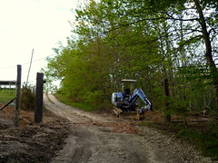 Putting in the gate posts and bottom bar for the gate (hardworkinghippy) Tags: recycle recoup zonehumide recouprecyclereuse