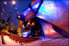 The Jay Pritzker Pavilion (Jeff_B.) Tags: chicago modern night hall concert gehry fisheye millenniumpark frankgehry jaypritzkerpavilion
