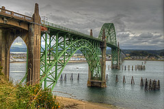 Yaquina Bay Bridge (Thad Roan - Bridgepix) Tags: bridge beach water clouds oregon marina bay harbor sand arch historic newport hdr facebook d800 bridging yaquina 201205 bridgepix