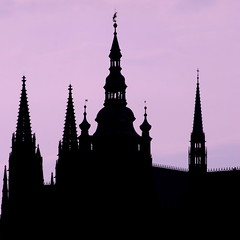 Castle silhouette, Prague (xiaomeisun (take a break from Flick from now)) Tags: travel colors silhouette nightshot prague xiaomeisun trueexcellence1