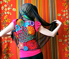 Irish Lace Vest (babukatorium) Tags: pink blue red summer orange black flower color green art wool thread fashion yellow butterfly circle star rainbow colorful purple recycled handmade lace turquoise teal burgundy oneofakind crochet moda peach violet knit style used cotton daisy hexagon romantic hippie dread vest psychedelic arcobaleno tulle rasta bohemian pentagon multicolor shrug waistcoat gilet whimsical extensions bolero haken icord hkeln emeraldgreen croch ganchillo colete chaleco uncinetto cotone capellifinti  daisyloom irishlace dreadextension coprispalle tii horgolt wooldread fakedread babukatorium